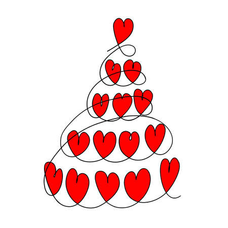 Christmas tree of hearts. Abstract Christmas tree. Abstract vector illustration. Happy New year symbol. Standard-Bild - 134874062