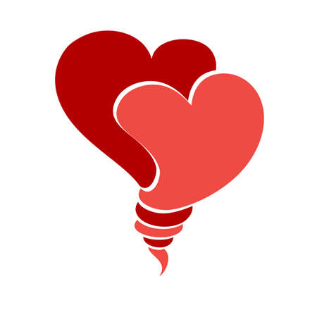 Two red hearts, love symbol, stock vector illustration. Foto de archivo - 134874064
