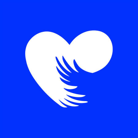 Arms around the heart. Flat character on blue background. Standard-Bild - 135197597