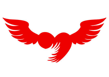 Heart vector icon, love symbol. Angel wings symbol. Tattoo template. Standard-Bild - 134858345