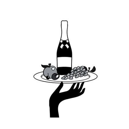 icon of human hand with a tray with drinks and fruit Standard-Bild - 135213376