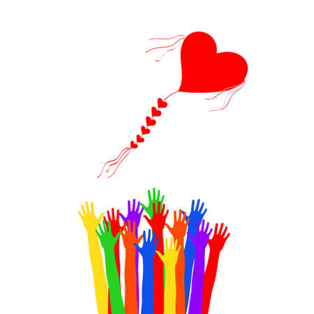Launch into the sky kite. Different colored hands to launch a kite in the shape of a heart Standard-Bild - 137680461