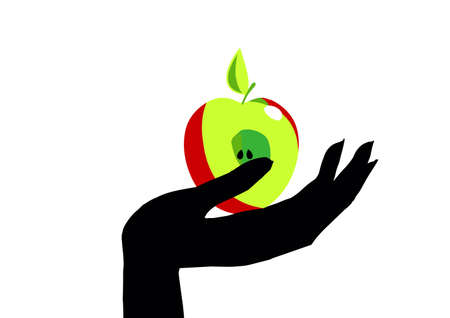 The hand with the Apple. Half an Apple in the palm of your hand. Standard-Bild - 137680462