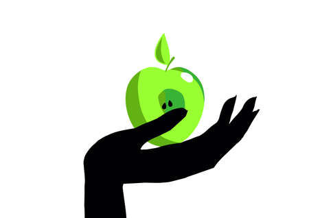 Hand with the Apple. Healthy lifestyle Vegetarianism Standard-Bild - 137680490