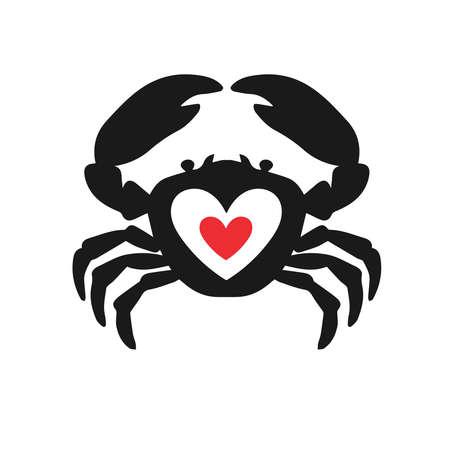 Crab heart idea logotype. Seafood love creative icon logo symbol.