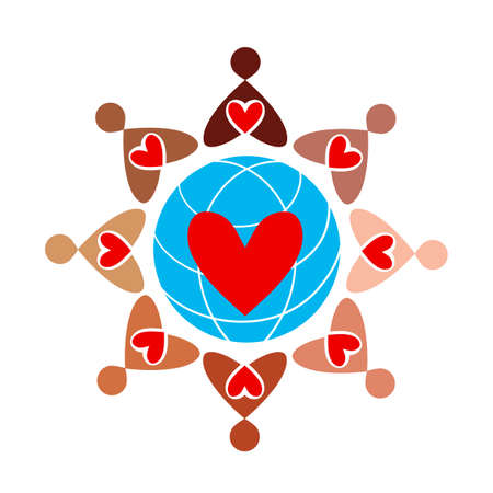Large group of colored people with hearts is forming all over the globe. uniform badges of love.