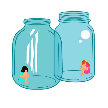 Quarantine. Two girls are isolated in glass vessels. Illustration on the topic of coronavirus.