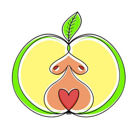 Woman Apple. Apple Women Body Type Drawing Sketch.