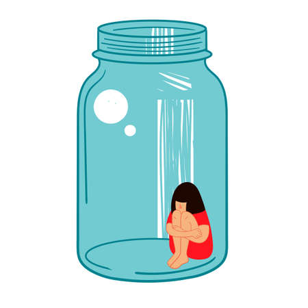Quarantine. Girl is isolated in a glass vessel. Illustration on the topic of coronavirus.