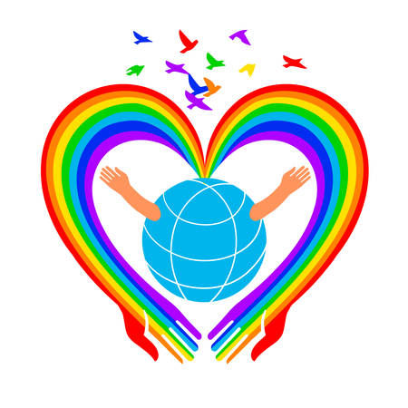 Save the Earth icon. Heart-shaped arms hug the globe.