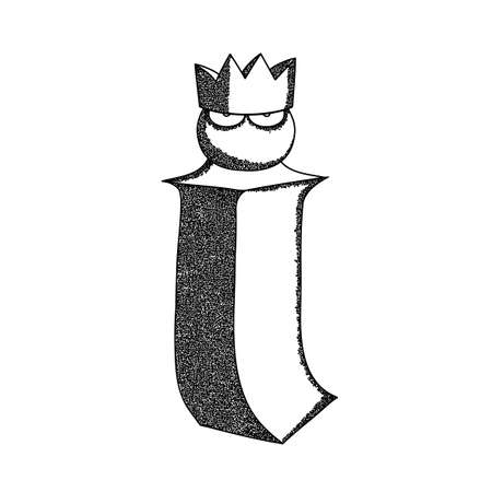 Letter I vector illustration. Im in the crown a metaphor for self-esteem a hand-drawn sketch in black on a white background.