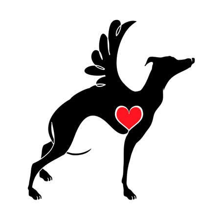 Hound dog with wings vector illustrations drawn by hand. Original flat image of a hound with a heart.