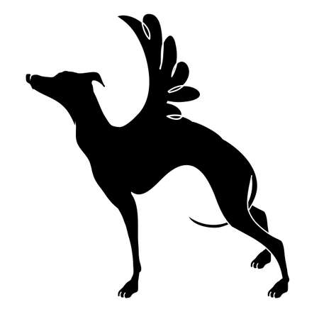 Dog with wings. Vector illustrations drawn by hand. 矢量图像