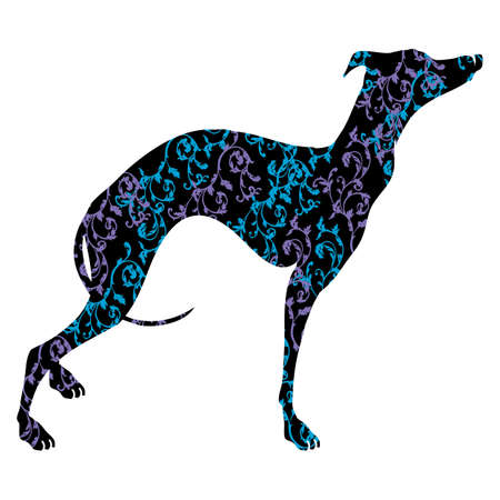 Greyhound dog breed vector illustration. Elegant silhouette of a Greyhound dog with an ornament.