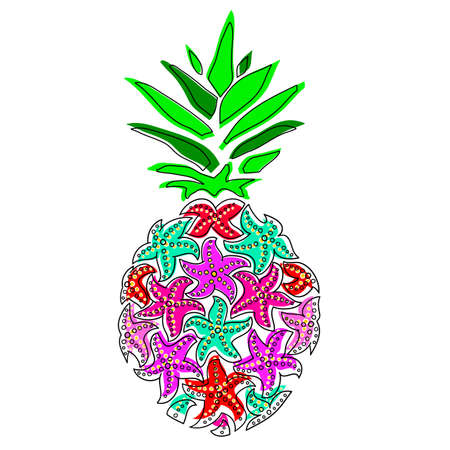 Pineapple. Pineapple from colored starfish. Pineapple in the disco style on a white background. 矢量图像