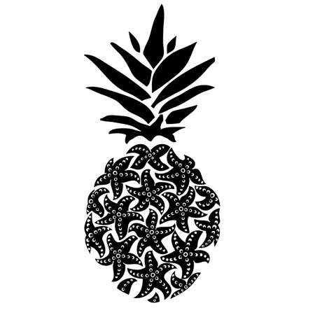 Starfish pineapple. Surf pineapple illustration, typography, t-shirt graphics vectors