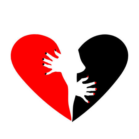 Heart is divided into two halves. Red and the black.