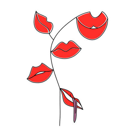 Set of womens lips. Lips of different shapes on the stem. Vector illustration.