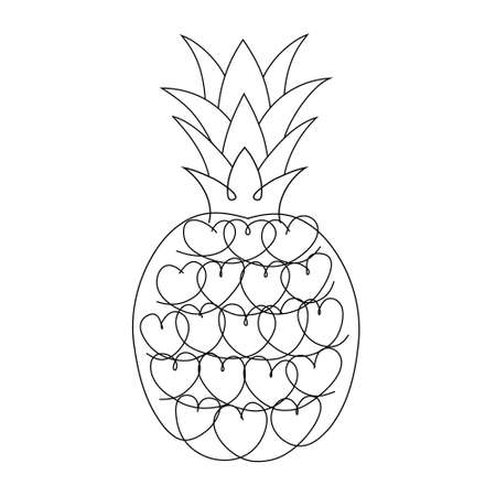 Pineapple with hearts. Pineapple vector illustration isolated on white.