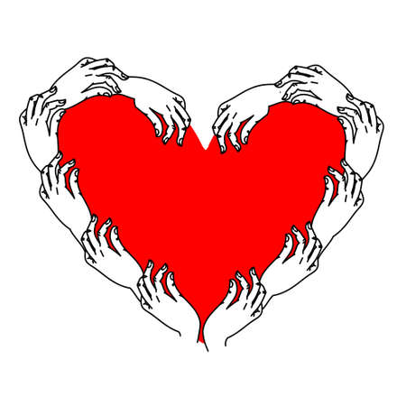 Heart Vector Illustration. A wreath of hands around a heart, a Valentine's Day template, a wedding invitation design