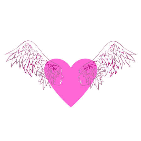 Gentle vector illustration with two angels on a heart background.