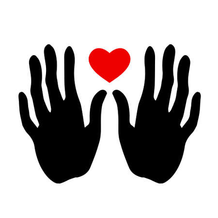 Blessing hands with a heart. Vector illustration 일러스트