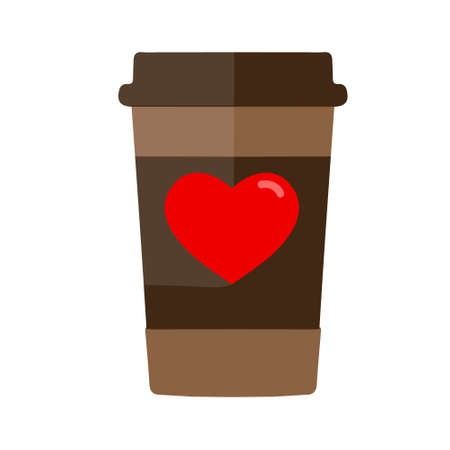 Coffee cup with a heart. Flat design, vector illustration.