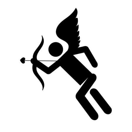 Cupid love silhouette of ancient mythology fantasy in simple execution. Vector illustration.