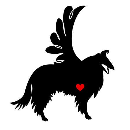 The black silhouette of a longhaired Collie with heart and wing, T-shirt decoration, greeting card for Valentine's Day, Tattoo