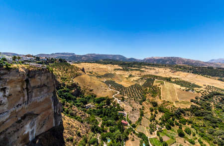 ronda: Andalusia landscape, countryside road and rock in Ronda, Spain