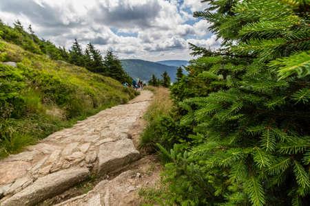 krkonose: Landscape with mountain and nice clouds in Krkonose in Czech republic