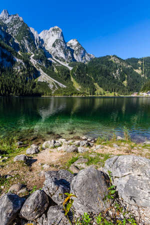 valley view: Beautiful alpine lake with crystal clear green water, Gosausee, Austria