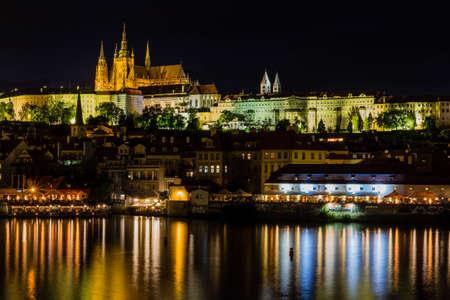 historical buildings: Prague, Czech Republic. Night photo of Charles Bridge, Castle and historical buildings