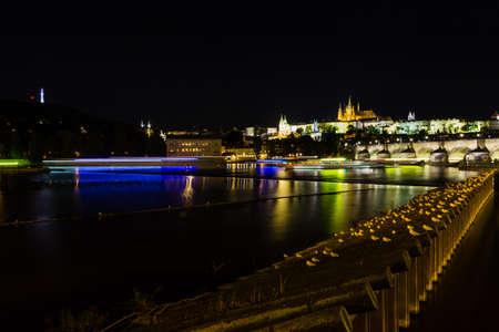 historical buildings: Prague, Czech Republic. Night photo of Castle and historical buildings