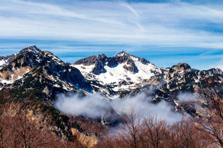 Alps mountain peaks covered with fresh snow Stock Photo