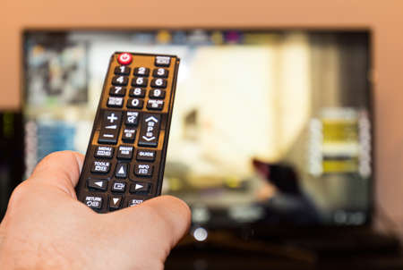 Counter-strike professioneel spel op tv en afstandsbediening Stockfoto - 76366005