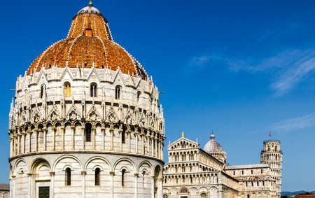 Pisa Cathedral (Duomo di Pisa) with the Leaning Tower of Pisa on Piazza dei Miracoli in Pisa, Tuscany, Italy