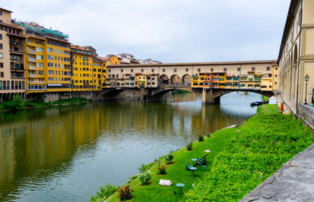 Ponte Vecchio, famous old bridge in Florence on the Arno river, Italy