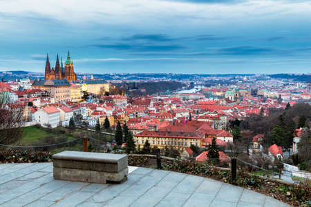 Prague, Czech Republic. Hradcany (Prague Castle) with St. Vitus Cathedral and St. George church evening dusk, Bohemia landmark in Praha.