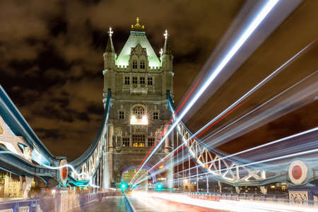 Light trails along Tower Bridge in London, UK