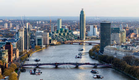 Aerial view of London and the River Thames, UK