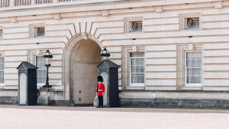 London, England - April 4, 2017: Queens Guard at Buckingham Palace.