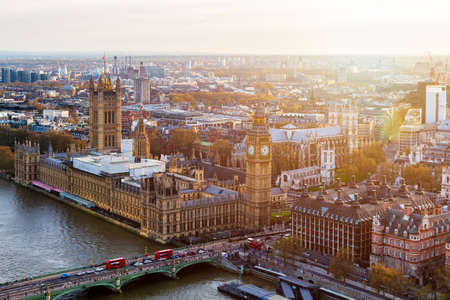 Aerial panorama view on London. View towards Houses of Parliament, London Eye and Westminster Bridge on Thames River. Stock Photo