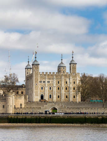Tower of London located on the north bank of the River Thames in central London, UK Editorial
