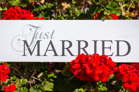 marrying: Just Married text on white background with flowers