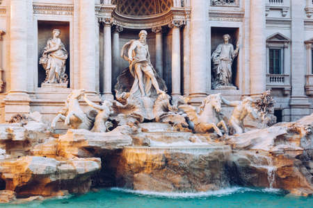 morning blue hour: Trevi fountain at sunrise, Rome, Italy. Rome baroque architecture and landmark. Rome Trevi fountain is one of the main attractions of Rome and Italy Editorial