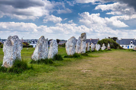 alignement: The alignment of standing stones known as Alignement de Menhirs de Lagatjar in the neighbourhoodl of Camaret-sur-Mer is an unmissable prehistoric site, contemporary with the famous stones of Carnac.