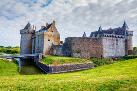 Panoramic view of Chateau de Suscinio, medieval castle, a former fortress & hunting lodge. Gulf of Morbihan, Brittany (Bretagne), France. Editorial