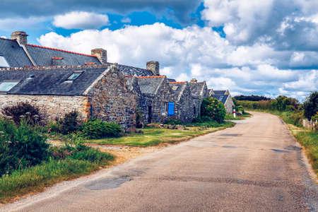 former: Street view of beautiful village of Rostudel former fishing village, Parc naturel regional dArmorique. Finistere department, Camaret-sur-Mer. Brittany (Bretagne), France. Stock Photo