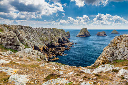 Pointe du Pen-Hir on the Crozon peninsula, Finistere department, Camaret-sur-Mer, Parc naturel regional d'Armorique. Brittany (Bretagne), France. Banco de Imagens - 82754007